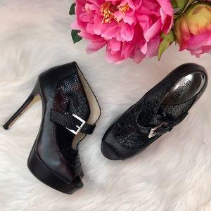 Michael Kors black buckle snakeskin platform heel